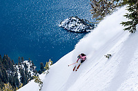 Elyse Saugstad skiing above Emerald Bay near her home in Lake Tahoe. This place is what dreams are made of, especially a skier like Elyse who rips big lines like the best to ever do it. Watching Elyse's explosive style on big canvases above Lake Tahoe is like watching an artist dynamically paint her masterpiece. Brilliant! Lake Tahoe, CA