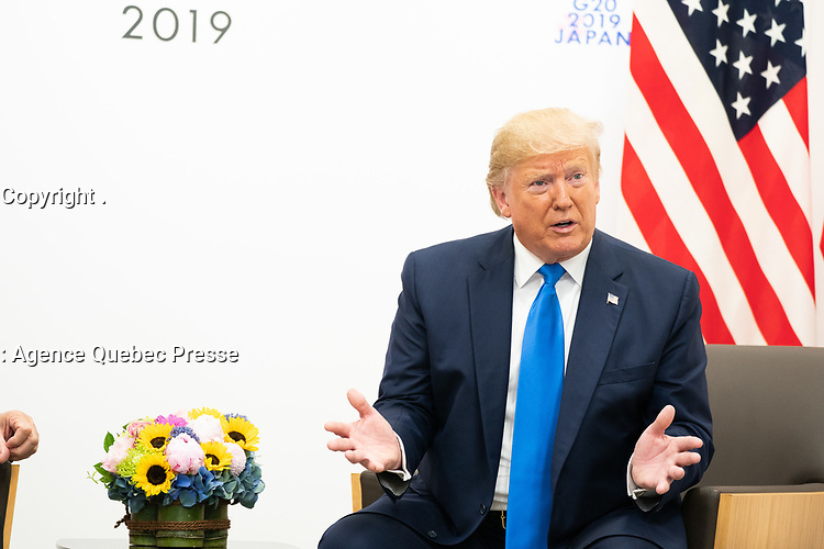 President Trump at the G20<br /> President Donald J. Trump participates in a bilateral meeting with President of the Republic of Turkey Recep Tayyip Erdogan at the G20 Japan Summit Saturday, June 29, 2019, in Osaka, Japan. (Official White House Photo by Shealah Craighead)