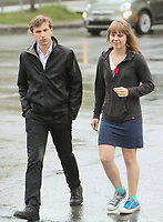 CLASSE spokespersons Gabriel Nadeau Dubois and Jeanne Reynolds arrive at the meeting with Quebec government in Quebec City Tuesday May 15, 2012.<br /> <br /> PHOTO :  Francis Vachon - Agence Quebec Presse