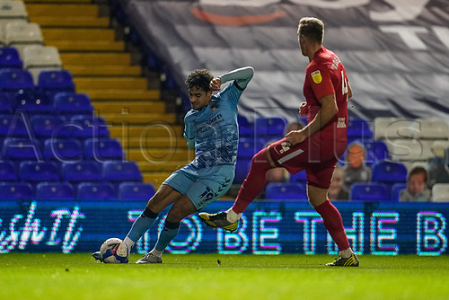 20th November 2020; St Andrews Stadium, Coventry, West Midlands, England; English Football League Championship Football, Coventry City versus Birmingham City; Tyler Walker of Coventry City crosses the ball into the Birmingham box