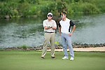 Michael Douglas (left) and Tenniel Chu (right) during the World Celebrity Pro-Am 2016 Mission Hills China Golf Tournament on 23 October 2016, in Haikou, Hainan province, China. Photo by Marcio Machado / Power Sport Images