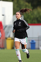 Luna Vanzeir (10) of OHL enters the pitch for the warm up before a female soccer game between Oud Heverlee Leuven and RSC Anderlecht on the fifth matchday of the 2021 - 2022 season of Belgian Womens Super League , sunday 3 October 2021  in Leuven , Belgium . PHOTO SPORTPIX.BE   SEVIL OKTEM