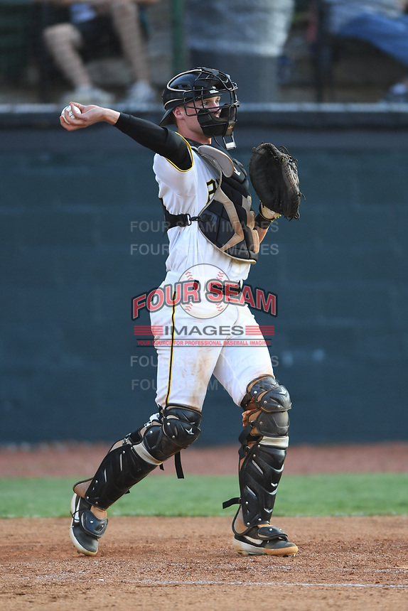 Bristol Pirates catcher Eli Wilson (28) in action against the Pulaski Yankees at Boyce Cox Field on July 8, 2019 in Bristol, Virginia. The Yankees defeated the Pirates 5-0. (Tracy Proffitt/Four Seam Images)