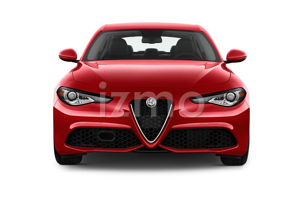 Car photography straight front view of a 2018 Alfa Romeo Guilia Auto 4 Door Sedan