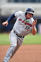 Fort Myers Miracle outfielder Travis Harrison (17) runs the bases during a game against the Charlotte Stone Crabs on April 16, 2014 at Charlotte Sports Park in Port Charlotte, Florida.  Fort Myers defeated Charlotte 6-5.  (Mike Janes/Four Seam Images)