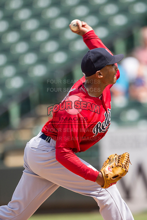 Memphis Redbirds pitcher Sam Freeman #11 delivers a pitch to the plate during the Pacific Coast League baseball game against the Round Rock Express on April 27, 2014 at the Dell Diamond in Round Rock, Texas. The Express defeated the Redbirds 6-2. (Andrew Woolley/Four Seam Images)
