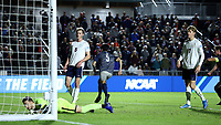 CARY, NC - DECEMBER 15: Daniel Wu #5 of Georgetown University reacts after scoring the first goal of his collegiate career during a game between Georgetown and Virginia at Sahlen's Stadium at WakeMed Soccer Park on December 15, 2019 in Cary, North Carolina.