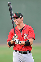 Center fielder Alex Call (2) of the Kannapolis Intimidators warms up before a game against the Greenville Drive on Thursday, Aug. 18, 2016, at Fluor Field at the West End in Greenville, South Carolina. Greenville won, 2-0. (Tom Priddy/Four Seam Images)