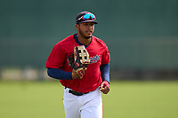 FCL Twins outfielder Emmanuel Rodriguez (4) jogs to the dugout during a game against the FCL Boston Red Sox on July 3, 2021 at CenturyLink Sports Complex in Fort Myers, Florida.  (Mike Janes/Four Seam Images)