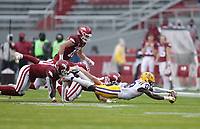 LSU wide receiver Jontre Kirklin (13) scrambles to recover a fumble, Saturday, November 21, 2020 during the fourth quarter of a football game at Donald W. Reynolds Razorback Stadium in Fayetteville. Check out nwaonline.com/201122Daily/ for today's photo gallery. <br /> (NWA Democrat-Gazette/Charlie Kaijo)