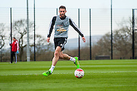 Tuesday 19 April 2016<br /> Pictured: Angel Rangel of Swansea City in action during training.<br /> Re: Swansea City Training Session ahead of the away game against Leicester City FC