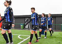 illustration picture showing both teams with Frieke Temmerman (17) of Club Brugge , Isabelle Iliano (18) of Club Brugge , Jody Vangheluwe (22) of Club Brugge and Nicky Van Den Abbeele (28) of Club Brugge entering the pitch during a female soccer game between Club Brugge Dames YLA and White Star Woluwe on the 12 th matchday of the 2020 - 2021 season of Belgian Scooore Womens Super League , saturday 30 January 2021  in Brugge , Belgium . PHOTO SPORTPIX.BE | SPP | DAVID CATRY