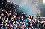 Queen of the South v St Johnstone...07.02.15    Scottish Cup 5th Round<br /> St Johnstone fans let off a blue flare / smoke bomb<br /> Picture by Graeme Hart.<br /> Copyright Perthshire Picture Agency<br /> Tel: 01738 623350  Mobile: 07990 594431