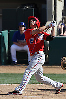 Randal Grichuk #15 of the Inland Empire 66'ers bats against the Rancho Cucamonga Quakes at The Epicenter on April 8, 2012 in Rancho Cucamonga,California. Inland Empire defeated Rancho Cucamonga 7-1.(Larry Goren/Four Seam Images)