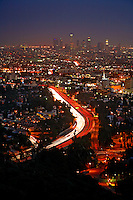 Hollywood and downtown Los Angeles at night, California