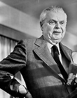 Former Prime Minister John Diefenbaker addresses the Scarborough East Progressive Conservative Association Saturday at the Cedarbrae Golf and Country Club. He said the oil pipeline from Alberta should have been extended.<br /> Griffin, Doug<br /> Picture, 1973