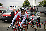 Yaroslav Popovych (UKR) Trek Factory Racing at the team bus before the start of the 2015 96th Milan-Turin 186km race starting at San Giuliano Milanese, Italy. 1st October 2015.<br /> Picture: Eoin Clarke | Newsfile
