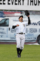 Empire State Yankees outfielder Kevin Russo #7 during a game against the Norfolk Tides at Dwyer Stadium on April 22, 2012 in Batavia, New York.  Empire State defeated Norfolk 6-5, the Yankees are playing all their games on the road this season as their stadium gets renovated.  (Mike Janes/Four Seam Images)