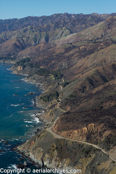aerial photograph of repair of Highway 1, Big Sur, Monterey County, California after a landslide
