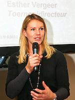 6-1-10, Rotterdam, Tennis, Persconferentie ABNAMROWTT, Toernooidirecteur Esther Vergeer kondigt het spelersveld aan van het rolstoeltoernooi