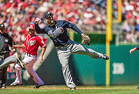 6 April 2014: Atlanta Braves third baseman Chris Johnson in action against the Washington Nationals at Nationals Park in Washington, DC. The Nationals defeated the Braves 2-1 to salvage the last game of their 3-game series. Mandatory Credit: Ed Wolfstein Photo *** RAW (NEF) Image File Available ***