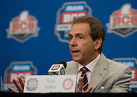 Alabama Head Coach Nick Saban talks with the reporters during BCS National Championship Head Coaches Press Conference at Marriott Hotel at the Convention Center at New Orleans, Louisiana on January 8th, 2012.