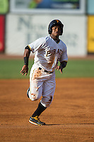 Henrry Rosario (52) of the Bristol Pirates hustles towards third base against the Burlington Royals at Boyce Cox Field on July 10, 2015 in Bristol, Virginia.  The Pirates defeated the Royals 9-4. (Brian Westerholt/Four Seam Images)