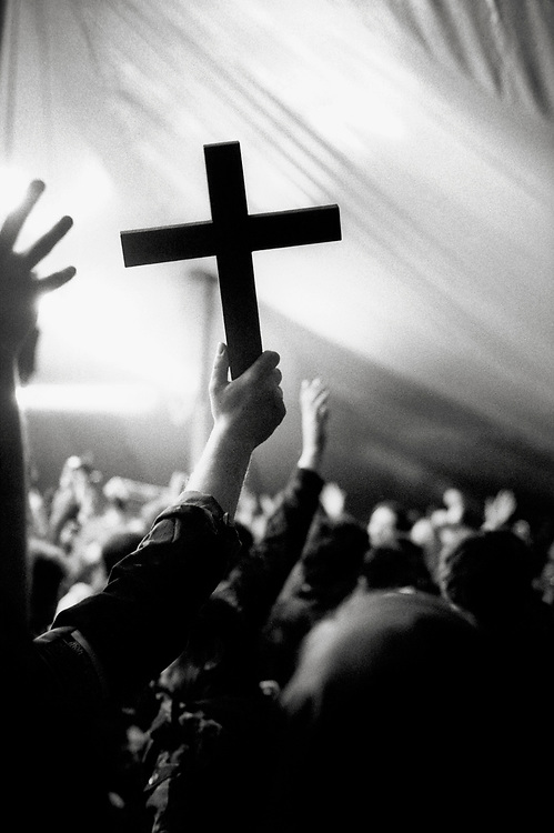 © John Angerson, Love Power Sacrifice (2007).<br /> Wooden cross at a Celebrate Jesu Easter rally, held annually in a giant marquee at Cornhill Manor , Northamptonshire.