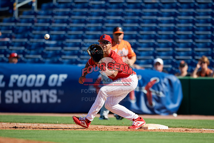 Philadelphia Phillies first baseman Darick Hall (85) stretches for a throw during a Grapefruit League Spring Training game against the Baltimore Orioles on February 28, 2019 at Spectrum Field in Clearwater, Florida.  Orioles tied the Phillies 5-5.  (Mike Janes/Four Seam Images)