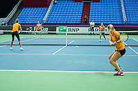 Moskou, Russia, Februari 4, 2016,  Fed Cup Russia-Netherlands,  Dutch team practise doubles <br /> Photo: Tennisimages/Henk Koster