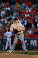 Shelby Miller #40 of the St. Louis Cardinals pitches against the Los Angeles Angels at Angel Stadium on July 3, 2013 in Anaheim, California. (Larry Goren/Four Seam Images)