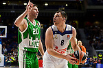 Real Madrid's player Jonas Maciulis and Unics Kazan's player Vadim Panin during match of Turkish Airlines Euroleague at Barclaycard Center in Madrid. November 24, Spain. 2016. (ALTERPHOTOS/BorjaB.Hojas)