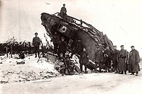 BNPS.co.uk (01202) 558833. <br /> Pic: ZeitgeistToursLtd/BNPS<br /> <br /> Pictured: C51 'Chaperon' on the side of the road from Le Pavé to Vaucelles was captured by the Germans after the Battle of Cambrai in 1917. <br /> <br /> Never-before-seen photos of the first time the Germans used captured British tanks against Allied soldiers have come to light on the 103rd anniversary of the battle. <br /> <br /> The British were the first to invent the tank in 1916 and a year later used them to overwhelm the enemy at the Battle of Cambrai in the First World War.<br /> <br /> Although the battle was a success for the British, the Germans captured several Mark IV tanks.<br /> <br /> Rather than build their own from scratch, the Germans adapted the British ones to suit their needs.
