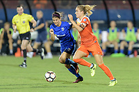 Frisco, TX - Sunday September 03, 2017: Madeline Bauer and Kristie Mewis during a regular season National Women's Soccer League (NWSL) match between the Houston Dash and the Seattle Reign FC at Toyota Stadium in Frisco Texas. The match was moved to Toyota Stadium in Frisco Texas due to Hurricane Harvey hitting Houston Texas.
