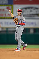 Lehigh Valley IronPigs shortstop Danny Espinosa (3) during a game against the Rochester Red Wings on June 30, 2018 at Frontier Field in Rochester, New York.  Lehigh Valley defeated Rochester 6-2.  (Mike Janes/Four Seam Images)