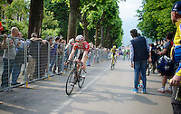 Tim Wellens (BEL/Lotto-Belisol) enters the finish zone after becoming 2nd in the stage (in only his 1st grand tour)<br /> <br /> 2014 Giro d'Italia <br /> stage 17: Sarnonico - Vittori Veneto (208km)