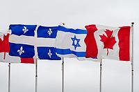 Montréal le 10 mai 2012, visite du président israélien M. Shimon Peres, l'accueil à l'aéroport, drapeaux // Montreal, May 10, 2012, visit of Israeli President Mr. Shimon Peres, reception at the airport, flags<br /> PHOTO :  Agence Quebec presse