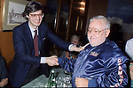 PAOLO VILLAGGIO E VITTORIO SGARBI <br /> RISTORANTE AUGUSTEA FESTA MARTA MARZOTTO ROMA 1991