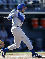 Delino DeShields of the Chicago Cubs bats during a 2002 MLB season game against the San Diego Padres at Qualcomm Stadium, in San Diego, California. (Larry Goren/Four Seam Images)