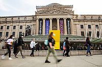 NEW YORK, NY - OCTOBER 24: Some people walk past the Brooklyn Museum during early voting for the United States presidential election on October 24, 2020 in New York City. Due to concerns about the coronavirus and social distancing, New York State is allowing early voting for the first time to protect voters from new infections in the city (Photo by Pablo Monsalve / VIEWpress via Getty Images)