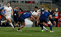 6 March 2021; Robert Baloucoune of Ulster is tackled by Leinster's Scott Penny and Rhys Ruddock during the Guinness PRO14 match between Ulster and Leinster at Kingspan Stadium in Belfast. Photo by John Dickson/Dicksondigital
