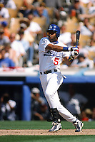 Jose Vizcaino of the Los Angeles Dodgers during a game at Dodger Stadium circa 1999 in Los Angeles, California. (Larry Goren/Four Seam Images)