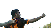 Calcio, Serie A: Frosinone vs Roma. Frosinone, stadio Comunale, 12 settembre 2015.<br /> Roma's Iago Falque, right, celebrates after scoring during the Italian Serie A football match between Frosinone and Roma at Frosinone Comunale stadium, 12 September 2015.<br /> UPDATE IMAGES PRESS/Isabella Bonotto