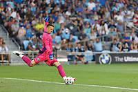 ST PAUL, MN - JULY 24: Aljaz Ivacic #31 of the Portland Timbers kicks the ball during a game between Portland Timbers and Minnesota United FC at Allianz Field on July 24, 2021 in St Paul, Minnesota.