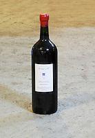 Cuvee Hemera 2002 in very big bottle. Bottle neck with red wax seal. Domaine des Grecaux in St Jean de Fos. Montpeyroux. Languedoc. Bottle cellar. France. Europe. Bottle.