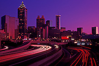 AJ3923, skyline, Atlanta, downtown, Georgia, Skyline of downtown Atlanta at sunset from Downtown Connector Interstate I-85/I-75 in the state of Georgia.