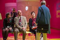 """Ausstellung """"Dialog mit der Zeit"""" im Museum fuer Kommunikation in Berlin-Mitte.<br /> Vom 1. April bis 23. August 2015 werden in der Ausstellung die Facetten des Alters und der Alterns erlebbar gemacht.<br /> Bundespraesident Joachim Gauck eroeffnete die Ausstellung am 31. Maerz 2015 mit einem Rundgang und einer Rede zu neuen Altersbildern in einer Gesellschaft des laengeren Lebens.<br /> 31.3.2015, Berlin<br /> Copyright: Christian-Ditsch.de<br /> [Inhaltsveraendernde Manipulation des Fotos nur nach ausdruecklicher Genehmigung des Fotografen. Vereinbarungen ueber Abtretung von Persoenlichkeitsrechten/Model Release der abgebildeten Person/Personen liegen nicht vor. NO MODEL RELEASE! Nur fuer Redaktionelle Zwecke. Don't publish without copyright Christian-Ditsch.de, Veroeffentlichung nur mit Fotografennennung, sowie gegen Honorar, MwSt. und Beleg. Konto: I N G - D i B a, IBAN DE58500105175400192269, BIC INGDDEFFXXX, Kontakt: post@christian-ditsch.de<br /> Bei der Bearbeitung der Dateiinformationen darf die Urheberkennzeichnung in den EXIF- und  IPTC-Daten nicht entfernt werden, diese sind in digitalen Medien nach §95c UrhG rechtlich geschuetzt. Der Urhebervermerk wird gemaess §13 UrhG verlangt.]"""