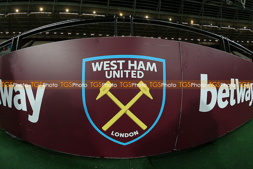 General view of the West Ham logo ahead of West Ham United vs Burnley, Premier League Football at The London Stadium on 14th December 2016