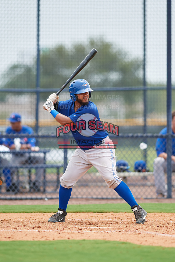 GCL Blue Jays catcher Andres Guerra (91) at bat during the second game of a doubleheader against the GCL Yankees East on July 24, 2017 at the Yankees Minor League Complex in Tampa, Florida.  GCL Yankees East defeated the GCL Blue Jays 6-3.  (Mike Janes/Four Seam Images)