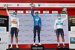The final podium of the Gran Premio Miguel Indurain 2021 won by Alejandro Valverde (ESP) Movistar Team, 2nd place<br /> Kazakh Champion Alexey Lutsenko (KAZ) and team mate Spanish Champion Luis León Sanchez (ESP) Astana Premier Tech 3rd, running 203.2km from Estella to Lizarra, Spain. 3rd April 2021.  <br /> Picture: Luis Angel Gomez/Photogomezsport | Cyclefile<br /> <br /> All photos usage must carry mandatory copyright credit (© Cyclefile | Luis Angel Gomez/Photogomezsport)